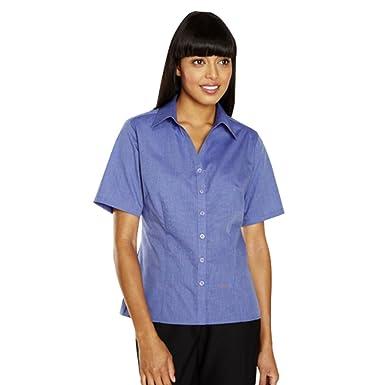 750646980 Simon Jersey Womens Ladies Blouse Shirt Workwear Office Smart Plus Sizes  8-22 (8, Blue): Amazon.co.uk: Clothing