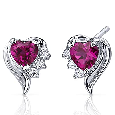 Created Ruby Earrings Sterling Silver Heart Shape CZ Accent