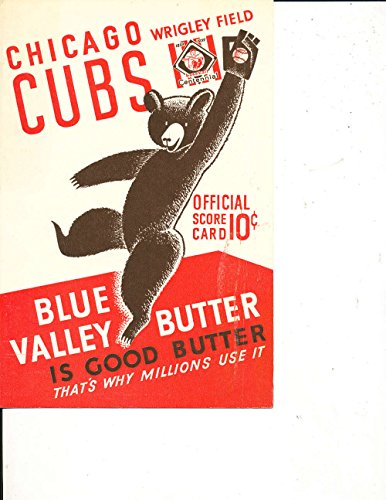 1939 Cincinnati Reds Chicago Cubs Baseball Scorecard unscored BBMag3 1939 Cincinnati Reds