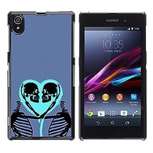 GOODTHINGS Funda Imagen Diseño Carcasa Tapa Trasera Negro Cover Skin Case para Sony Xperia Z1 L39 C6902 C6903 C6906 C6916 C6943 - esqueleto amor corazón azul púrpura del cráneo