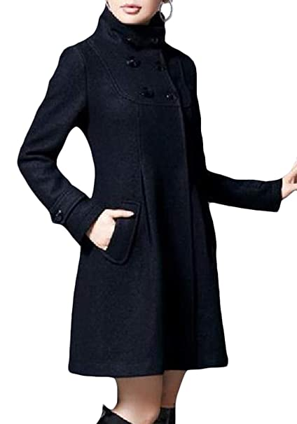 b2af82f93a0 Amazon.com  Sweatwater Womens Wool-Blended Outwear Slim Stand Collar  Double-Breasted Pea Coat  Clothing