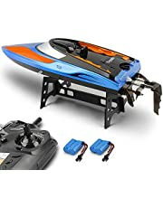 E T RC Barco, Barco de Control Remoto para Piscinas y Lagos 2.4 GHz Alta Velocidad RC Barcos de Carreras para Adultos niños Bonus batería (azulblanco)