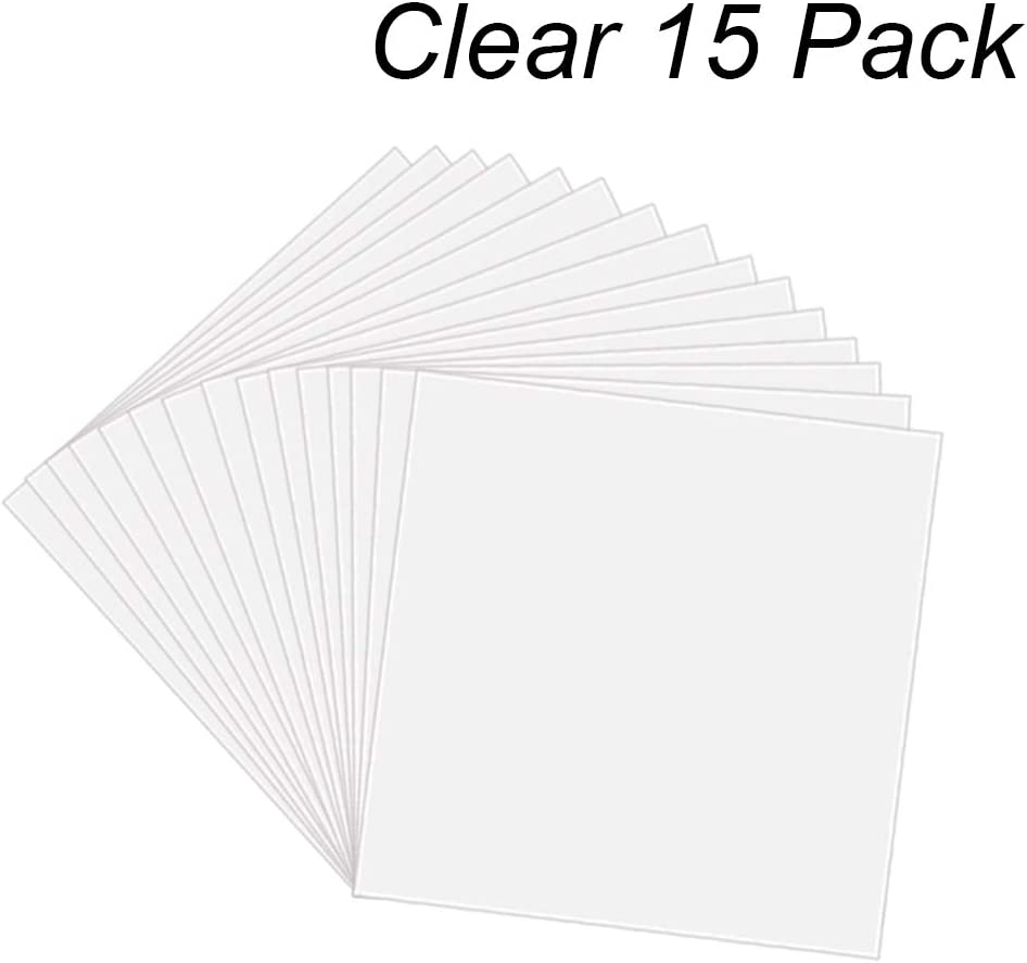 """15 Pack 6 Mil CLEAR Mylar Stencil Sheets, 12"""" x 12"""" Blank Stencils, Reusable Template Material, Make Your Own Stencil Compatible Vinyl Cutting Machine"""
