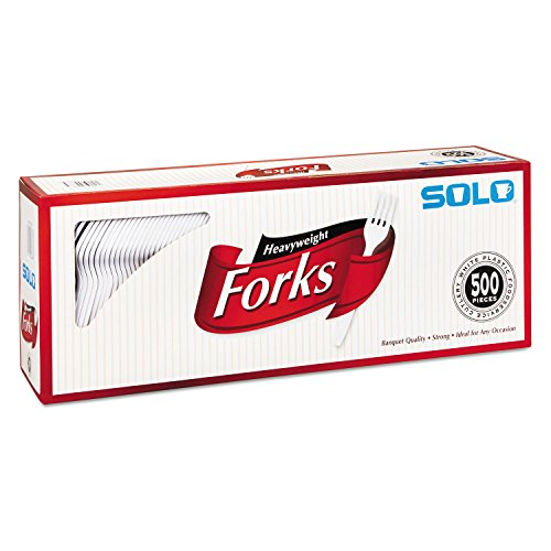Solo Heavyweight Plastic Cutlery, Forks, White, 6.41