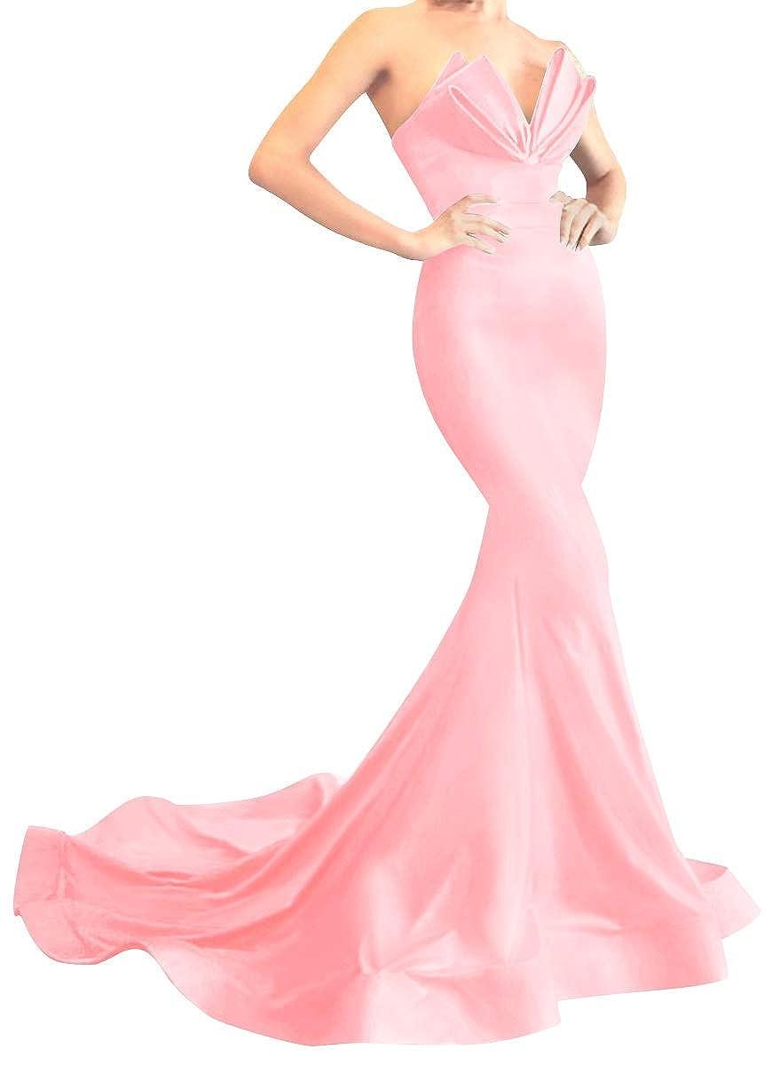 bluesh Pink MorySong Women's Strapless Mermaid Evening Prom Dress Satin Long Formal Gown