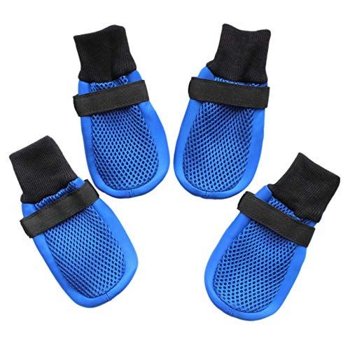 Dog Shoes Boots with Mesh Nonslip Rubber Soles to Protect Hardwood Floor and Prevent Scratching Licking Blue XXL (Great Dane Boots Winter)