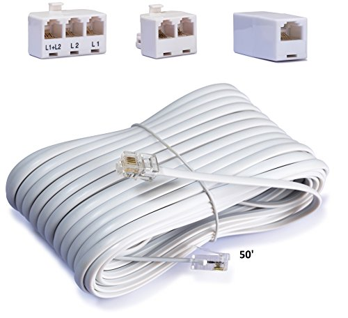 Telephone Cord Accessory Kit for Landline Phone Jack Kit, Includes; Telephone Extension Cord, Duplex Wall Jack Adapter and Splitter, Cable Coupler Connector. (4-PACK)