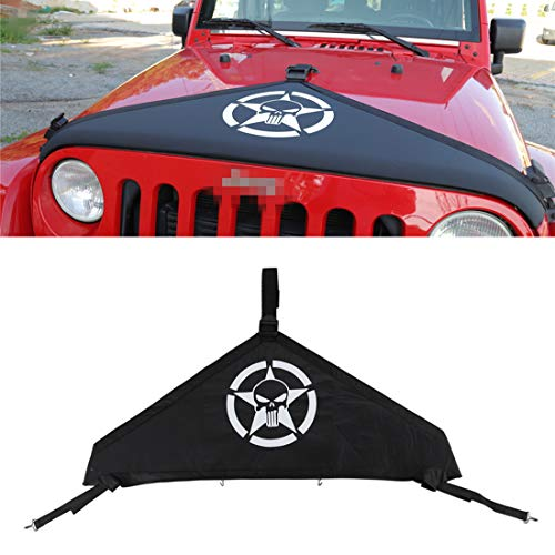 YOCTM Car Styling Black Front Hood Cover Bra Protector Cover T-Style Protector Kit for 2007-2018 Jeep Wrangler JK Rubicon Sahara Sport Parts Accessories (Punisher)
