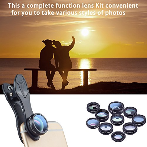 Cell Phone Camera Lens Kit by Ailuki with Professional Telephoto Lens,Wide Angle Lens+Macro Lens+Fisheye Lens, Selfie Remote Control+Tripod for iPhone Samsung Galaxy Most of Smartphone and iPad by AILUKI (Image #8)
