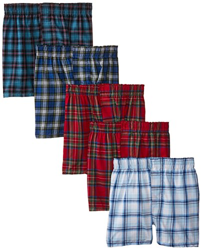 Hanes Big Boys' Boxer 5 Pack,Tartan, Large (Colors May Vary)