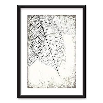 Stunning Piece of Art, Made With Love, Framed Black White Leaf Vein Pattern Vintage Background Black Picture Frames White Matting