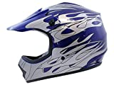 TMS Youth Kids Blue Flame Dirt Bike Motocross Helmet Atv Mx (Medium)