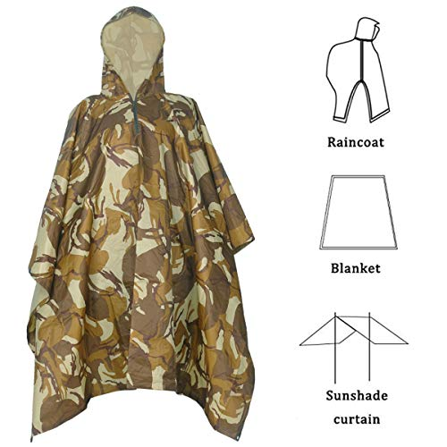 (Rain Poncho,Waterproof Raincoat with Hoods Rain Poncho for Outdoor Activities Men,Women (Rain Poncho Desert Camo))