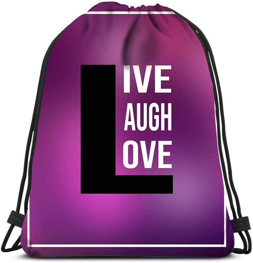 Drawstring Backpack Live Laugh Love Quote With Modern Laundry Bag Gym Yoga Bag