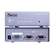 DTECH 1 In 2 Out VGA Monitor Splitter 1 PC for 2 Monitors Amplifier Box 1920 x 1440 Resolution