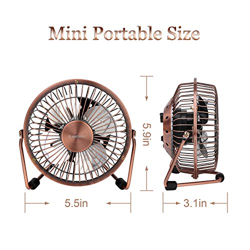 Table Fan Switches : Glamouric mini metal table fan usb powered quiet desk
