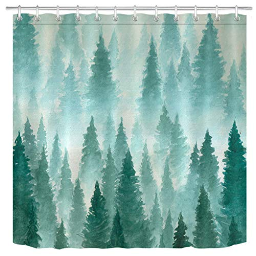 (LB Simple Dark Green Tree Forest Shower Curtain for Bathroom, Abstract Watercolor Design Bathroom Decor, 70 W x 78 L Extra Long, Water Proof)