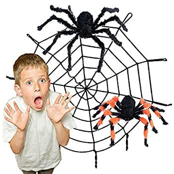 11ft spider web and giant spiders halloween decoration