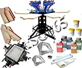 6 Color 6 Station Screen Printing Press & Mesh Stretching Pinting Kit - 006974