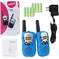 RHESHINE Kids Walkie Talkies, Rechargeable Walkie Talkie for Kids 2 Miles(3KM) Long Range 22 Channel 0.5W FRS/GMRS 2 Way Radios with US Charger and Rechargeable Batteries (Blue, 1 Pair)