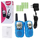 Kids Walkie Talkies, Rheshine Rechargeable Walkie Talkie for Kids 2 Miles(3KM) Long Range 22 Channel 0.5W FRS/GMRS 2 Way Radios with US Charger and Rechargeable Batteries (Blue, 1 Pair)