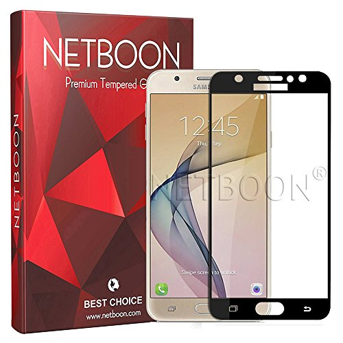 NETBOON Full Cover Screen Guard Tempered Glass for Samsung Galaxy J7 Pro   Black