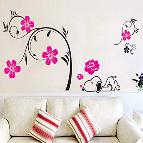 ALXCHD Wall Stickers Living Room Tv Sofa Wall Stickers Bedroom Wall Paper Snoopy Sleeping 5070Cm