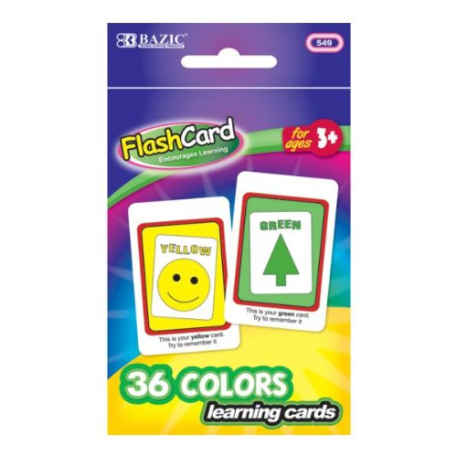 Bazic Colors Preschool Flash Cards - 36/Pack 72 pcs sku# 705488MA by Bazic