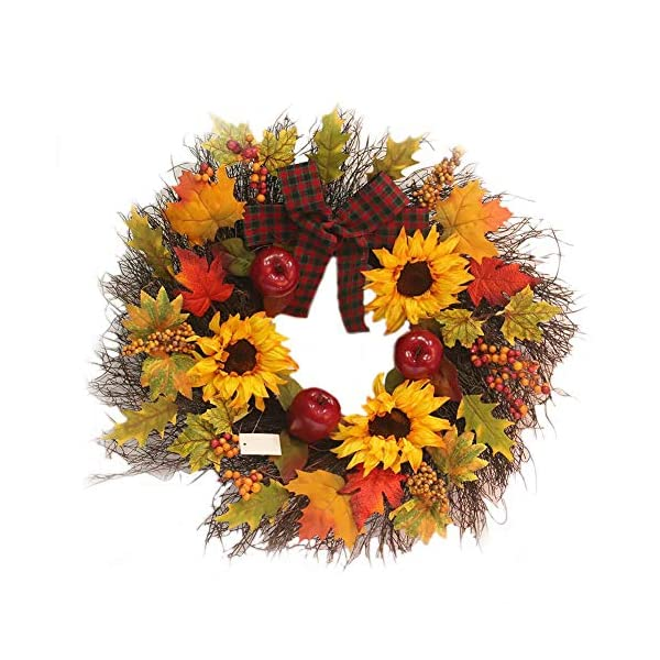 Decorative-Leaves-Berries-17-Fall-Sunflower-Maple-Leaf-Harvest-Wreath-Autumn-Colors-Enhance-Home-Decor-for-Front-Door-or-Indoor-Wall-Dcor-to-Celebrate-The-Thanksgiving-Fall-Season