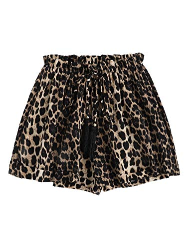 SheIn Women's Casual Drawstring Elastic Waist Summer Shorts Jersey Walking Shorts Medium Leopard