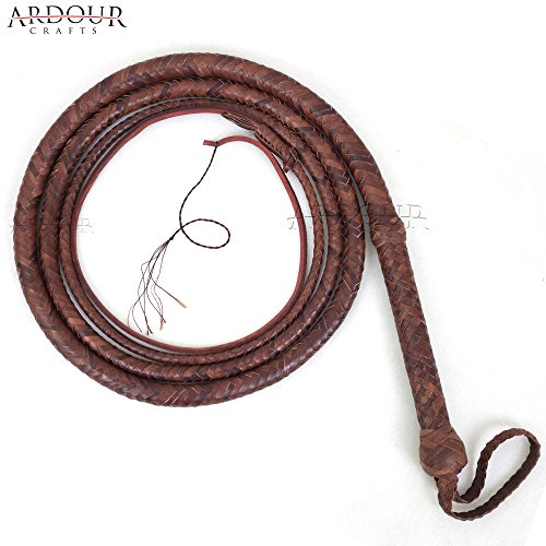 Ardour Crafts Brown Bull Whip 10 Feet 12 Plaits Cow Hide Leather Custom BULLWHIP Belly and Bolster Construction]()