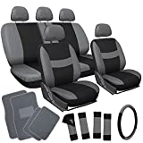 OxGord 21pc Black & Gray Flat Cloth Seat Cover and Carpet Floor Mat Set for the Chevrolet Chevette Hatchback, Airbag Compatible, Split Bench, Steering Wheel Cover Included