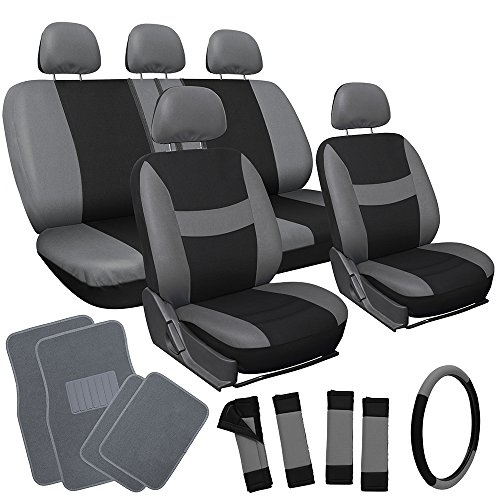 OxGord 21pc Black & Gray Flat Cloth Seat Cover and Carpet Floor Mat Set for the Hyundai Sonata Sedan, Airbag Compatible, Split Bench, Steering Wheel Cover Included