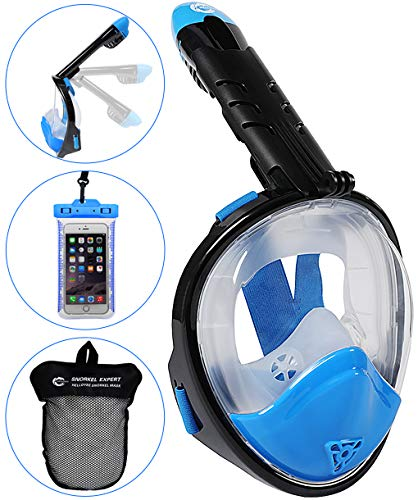 HELLOYEE Full Face Snorkel Mask for Adults Kids Panoramic View Snorkeling Mask Free Breathing Anti-Fog Anti-Leak Design with Detachable Camera Mount (Foldable Blue-Black, XS)