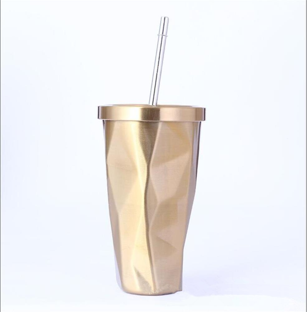 Stainless Steel Tumbler with Straw - Wim Hot and Cold Double Wall Drinking Cups Coffee Mugs 16oz Irregular Diamond with Lid (Blue)