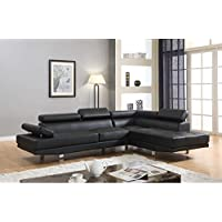 GTU FURNITURE Contemporary Faux Leather 2-piece Sectional Sofa Set Black
