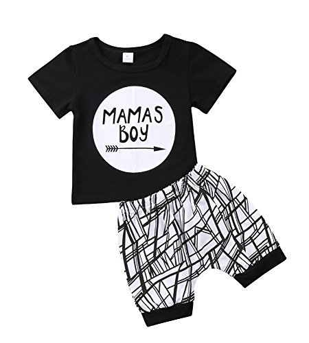 Baby Boys Outfit Mamas Boy Pint Short Sleeve T-Shirt+Striped Leggings Pants Clothes Sweatsuit Set (Black, 0-6 Months)