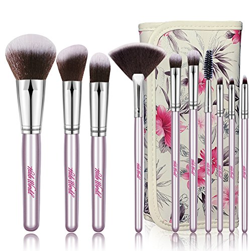 Premium 10 Piece Cruelty Free Makeup Brushes Foundation Blending Blush Face Eye Lip Fan Brushes Kit with PU Case (silver)