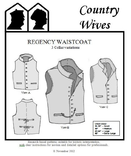 [1811- 1820s Men's Regency Era Waistcoat Pattern with 3 Collar Variations] (Romantic Time Period Costumes)