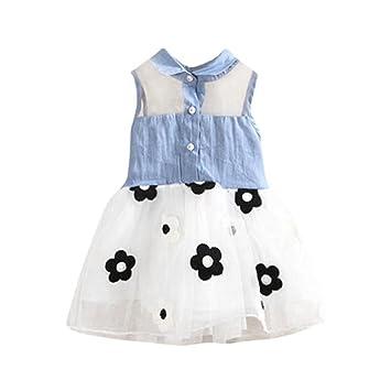Feitong Princess Cute Girls Denim Kids Sleeveless Tulle Tutu Dresses Mini Dresses White 5t4 5t