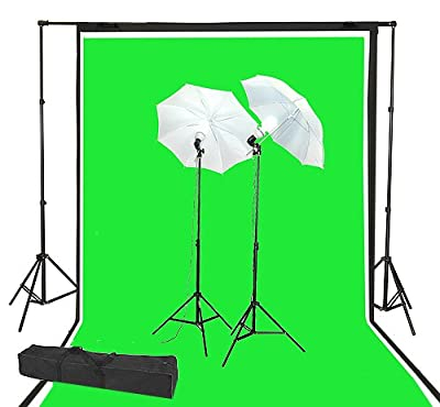 ePhoto 3pcs Large Muslin 10 x 20 ft Studio Photography Video Chromakey Green Screen, Black, White Muslin with Complete Light Lighting Kit and Backdrop Background Support System + Case by ePhoto INC K1020GBW+CASE from Ephoto