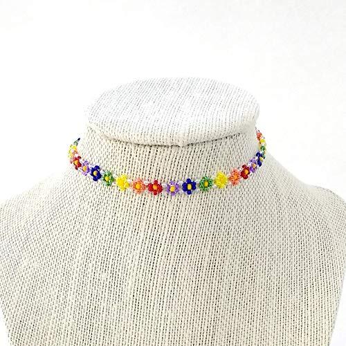 Handmade Rainbow Daisy Seed Bead Choker Necklace Adjustable 12 to 16 Inches