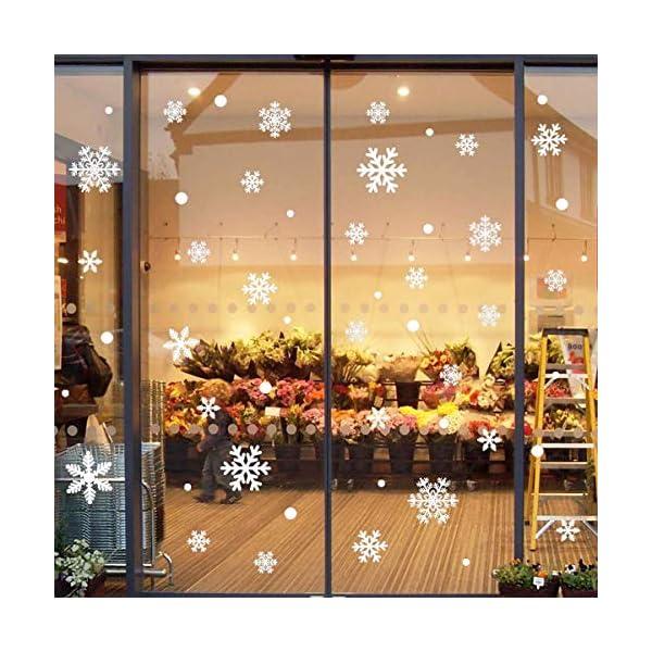 216 Vetrofanie Fiocchi di Neve per Natale, Fiocco di Neve Stickers da Vetro Finestra Vetrina Natale Decorazione - Fantastiche Adesivi Statici in PVC 2 spesavip