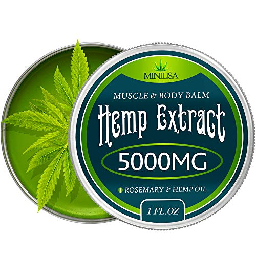 Premium Hemp Balm - Ultra Strong Natural Pain Relief - 5000mg Hemp Extract - Rosemary & Hemp Oil - Anti-Inflammatory for Joint & Muscle, Arthritis Pain - Fast Acting Hemp Salve - Made in USA - Non-GMO