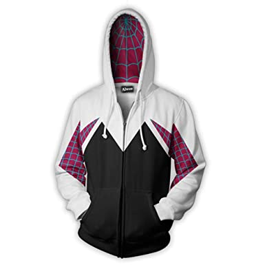 486ecd47d Alwoe Kids/Unisex Adult 3D Clothing Gwen Spider Cosplay Zipper Hooded  Sweatshirt at Amazon Men's Clothing store: