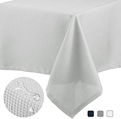 CAROMIO White Rectangle Tablecloth 60x102 Inches, White Rectangular Waffle Weave Water-Resistant Fabric Tablecloth for Buffet Table, Banquet, Birthday Parties, Wedding and More