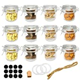 Folinstall 12 Pcs 8 oz (250ml) Glass Jars with Airtight Lids, Small Mason Jars With Hinged Lids for Herbs, Spices, Art. Extra 3 Replacement Silicone Gaskets, Chalkboard Labels and Tag Strings Included (Color: Clear, Tamaño: 250 ml)