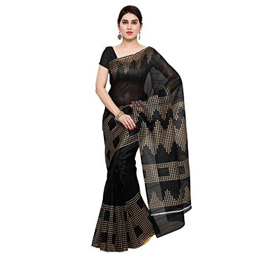 Oomph! Bhagalpuri Silk Geometric Printed Saree – Jet Black & Peanut Beige