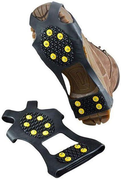 10 Zähne Anti-Rutsch-Eis Traction Steigeisen Ice Schuhe Stiefel Griffe Z0U9