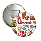 Denmark Landscap Animals National Flag Round Bottle Opener Refrigerator Magnet Pins Badge Button Gift 3pcs